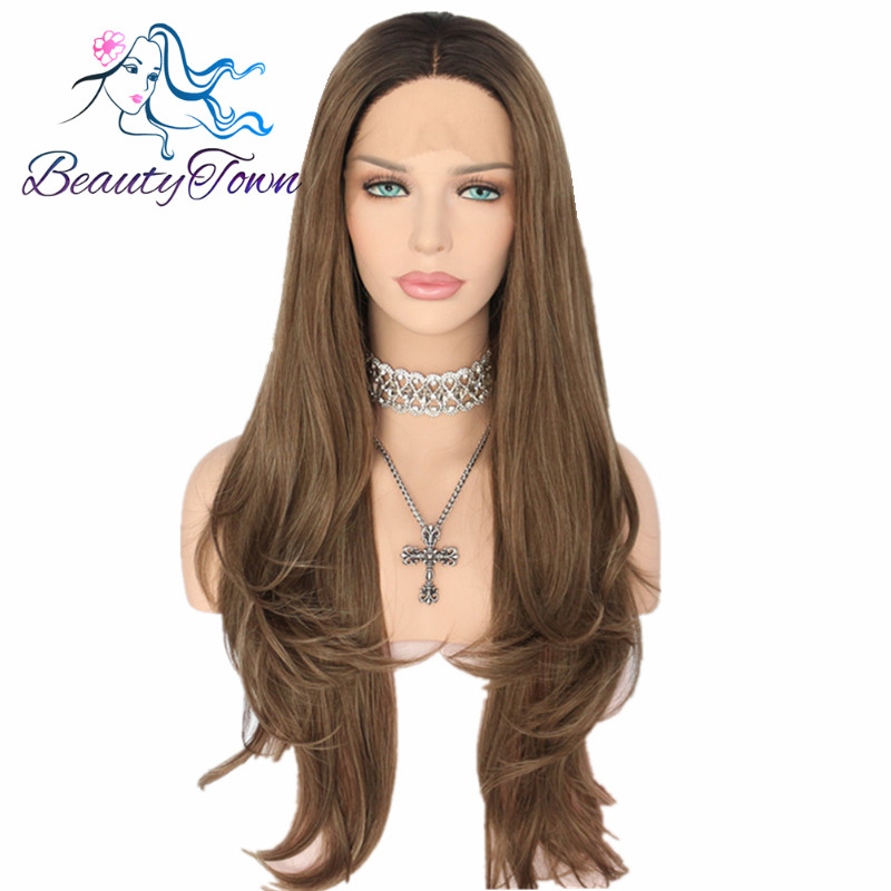 BeautyTown Black Ombre Brown Heat Resistant Hair Natural Wave Type Hand Tied Perruque Synthetic Lace Front