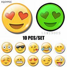 10 PCS Emoji Luminous Glass Fridge Magnet Decor 25 MM Round Cute Expressions Mood Refrigerator Decoration Magnetic Stickers