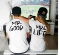 BKLD 2016 New Summer Style Lovers T-shirt Mr. GOOD&Mrs. LIFE Letters Printed O-Neck Tees Tops Short Sleeve Causal Couple Clothes