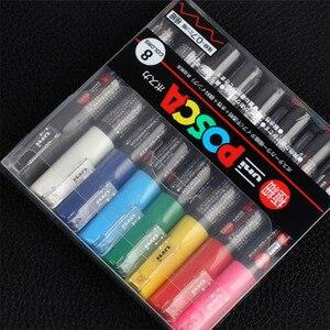 Image 2 - 8 kolorów zestaw Mitsubishi Uni Posca PC 1M Marker farby Extra Fine Bullet Tip 0.7mm 8 kolorów Art markery biurowe i szkolne