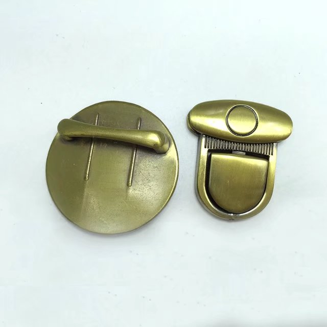 3 x 3.5 cm Bronze Purse Bag Lock , Metal Thumb Catch Purse Lock