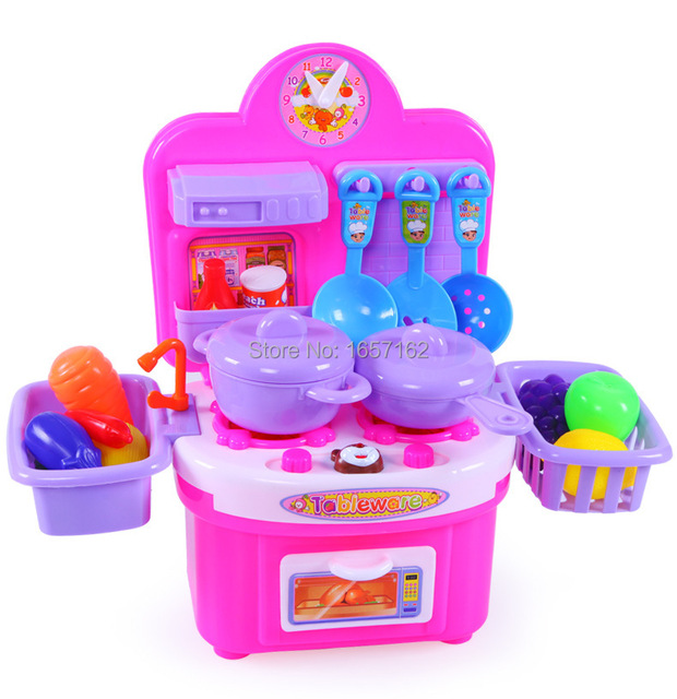 Fashion Baby Kitchen Play Set Cooking Toys Light Music Fruits Vegetables Fish