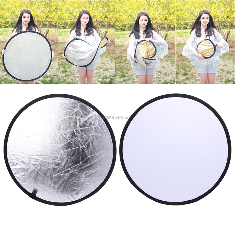 New 2 In 1 55-60cm Light Mulit Collapsible Disc Photography Reflector Silver/White