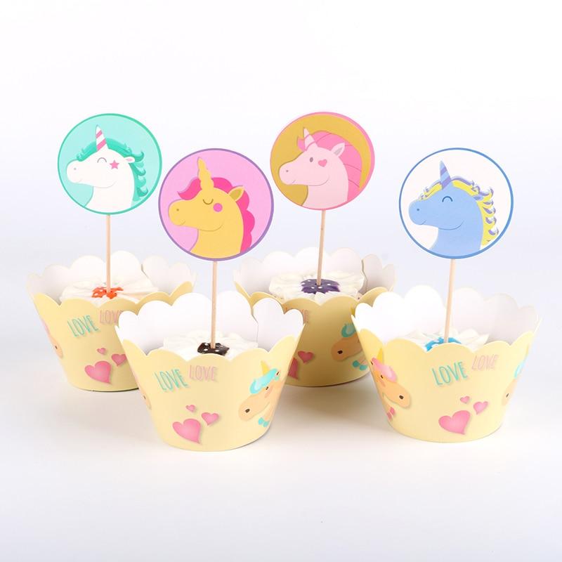 24 Stks/partij Cartoon Eenhoorn Papier Cupcake Wrappers Topper Picks Voor Kinderen Verjaardagsfeestje Decoratie Supplies Gunsten Mooie Glans