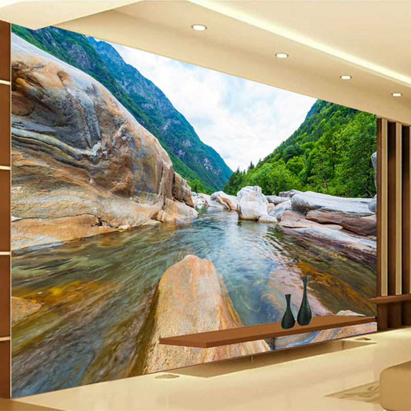 Chinese Style Nature Landscape Rock Photo Mural Wallpaper Living Room Bedroom Hotel Backdrop Wall Classic Home Decor Wall Papers