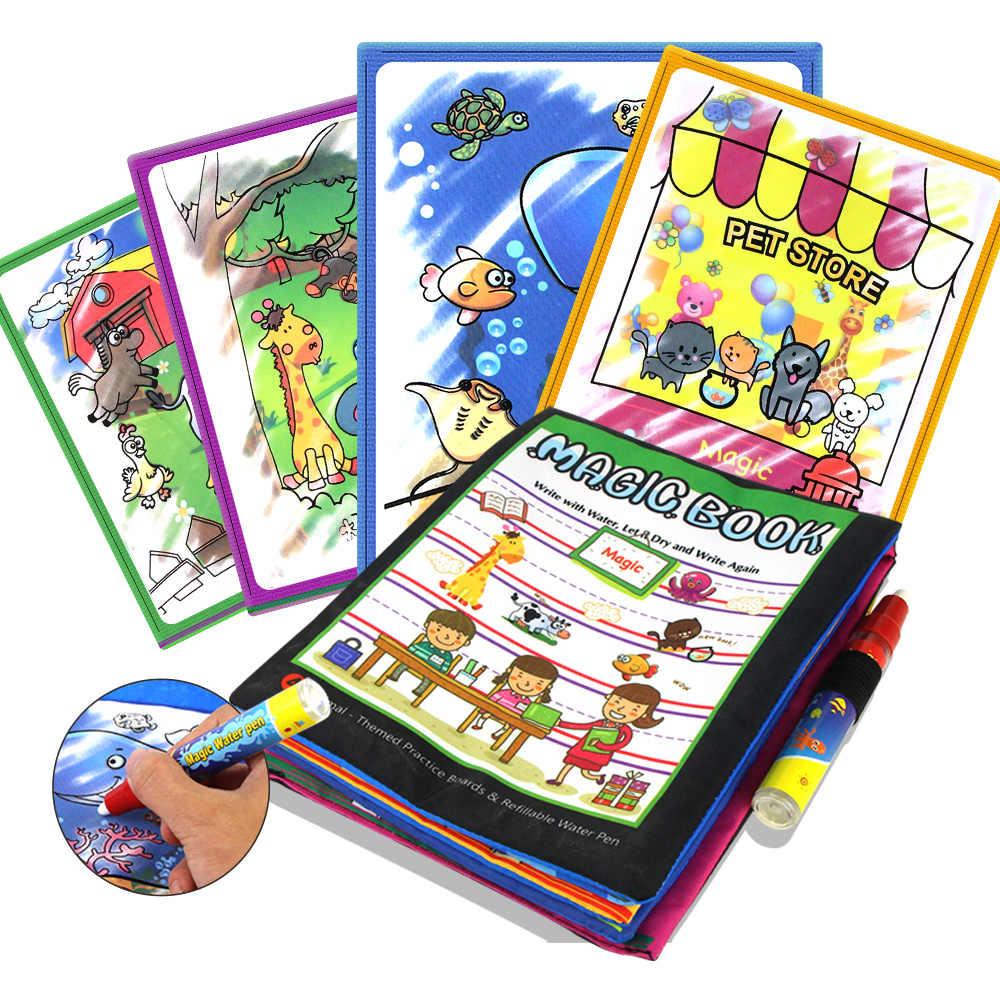 4 типа волшебные книги для рисования водой раскраска в Рисование игрушки многоразовые Книги Игрушки для раннего обучения Развивающие игрушки для детей