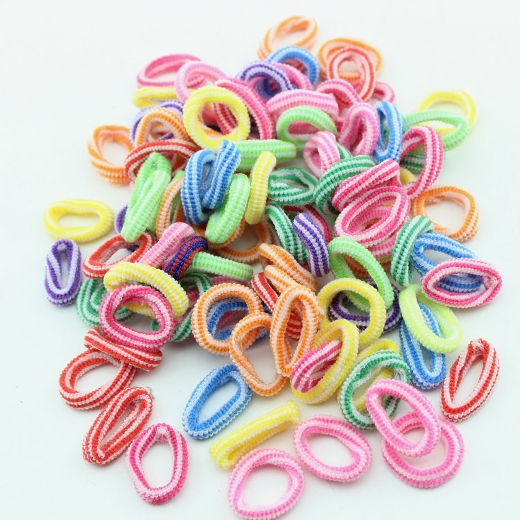 100pcs/pack Girls Elastic striped Hair Ts