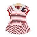 Новый бренд детское платье летом случайные полосатый младенческая baby girl одежда опрятный стиль девочка крещение платья одежда