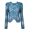 Summer Fashion  Women  solid short style Lace long Sleeve Shirt Crochet blusa Tops blusas femininas camisa sexy T-shirts