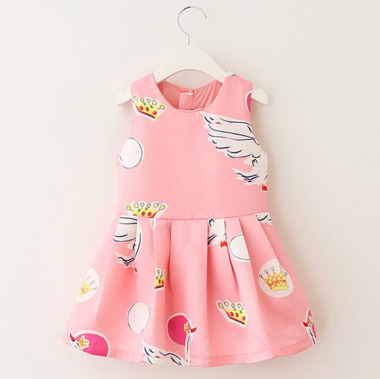 2015 New Brand Autumn Baby Girls Dress Sleeveless Print Swan Princess Dress Children Clothing A-Line Casual Kids Party Dresses new girls dress brand summer clothes ice cream print costumes sleeveless kids clothing cute children vest dress princess dress