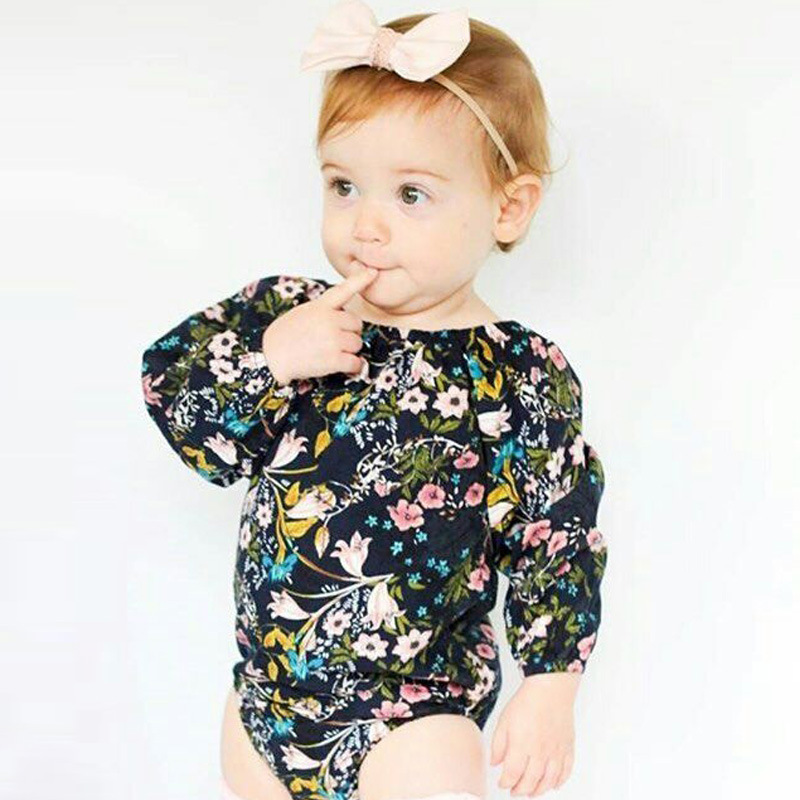 Fashion floral Baby Rompers Summer Long sleeve Baby Girl Clothes Cotton Newborn Baby Clothes Roupas Bebe Infant Jumpsuits