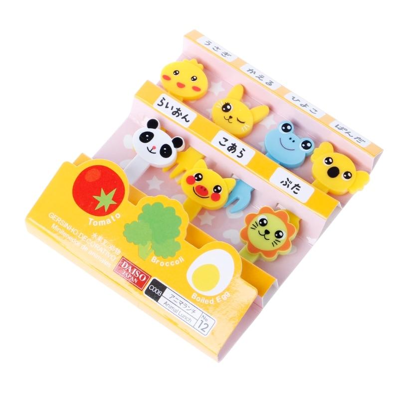 Kids Safe Farm Cartoon Animal Fruit Fork Set Plastic Cute Toothpick Tableware Food Picks