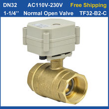 "Free shipping DN32 AC110-230V 2 wires 1-1/4"" Normal Open Motorized Valve 29mm Bore TF32-B2-C Electric Valve With"