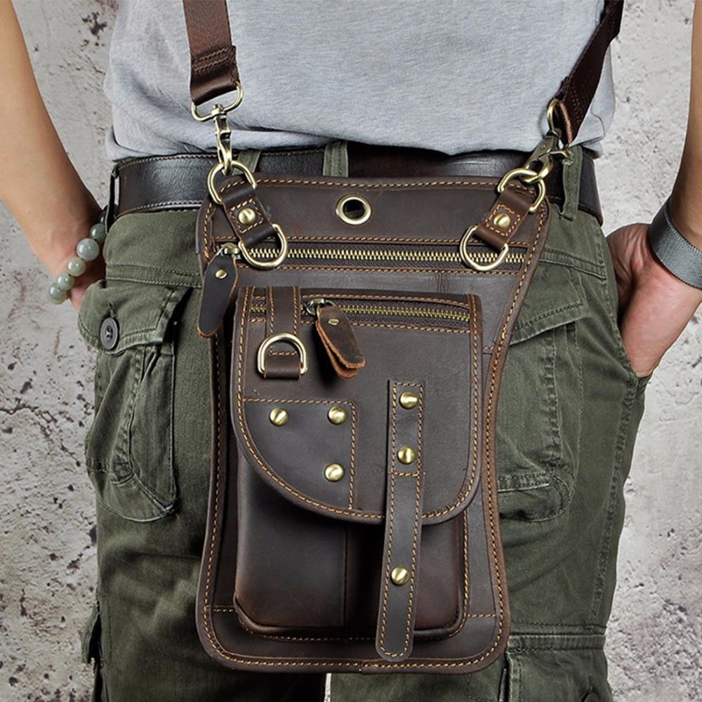 Men Genuine Leather Travel Messenger Shoulder Sling Back pack Chest Rivets Bag