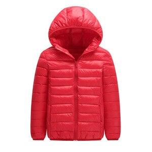 Image 3 - คุณภาพสูง 2020 ฤดูหนาวชายเสื้อลงเสื้อเด็ก Light Down Coat Hooded หญิงบาง WARM Outerwears 10 12 14 16 Y