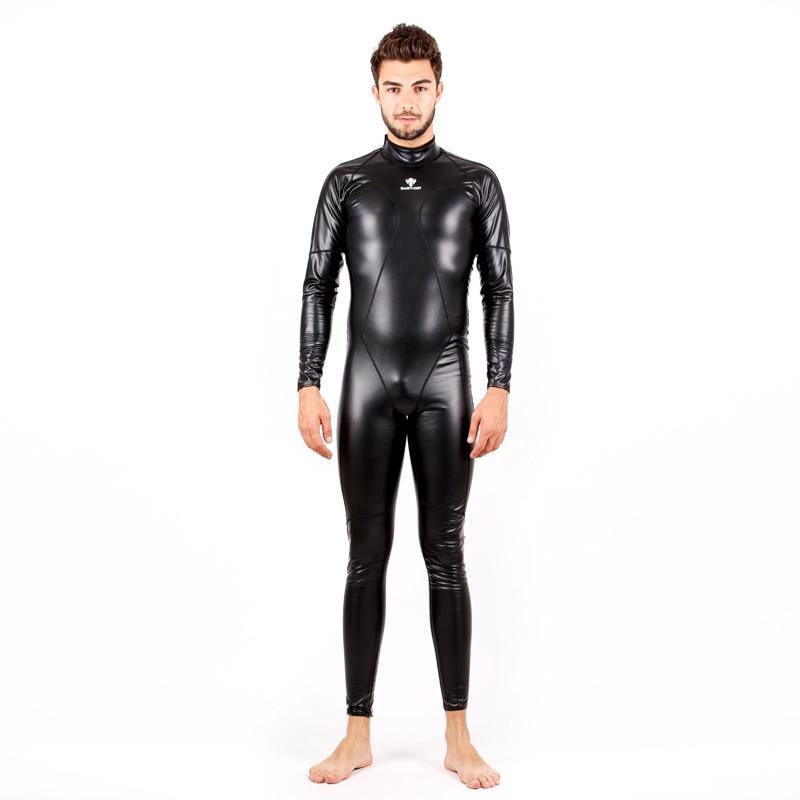Full Body PU Waterproof One Piece Suits Swimwear Women Men Long Sleeve Arena Competitive Swimming Swimsuit Warm Bodysuit