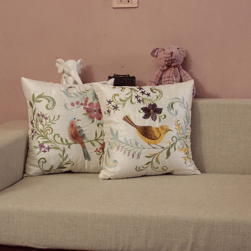 Embroidered Bird Leaf Polyester Cushion Cover Classic Faux