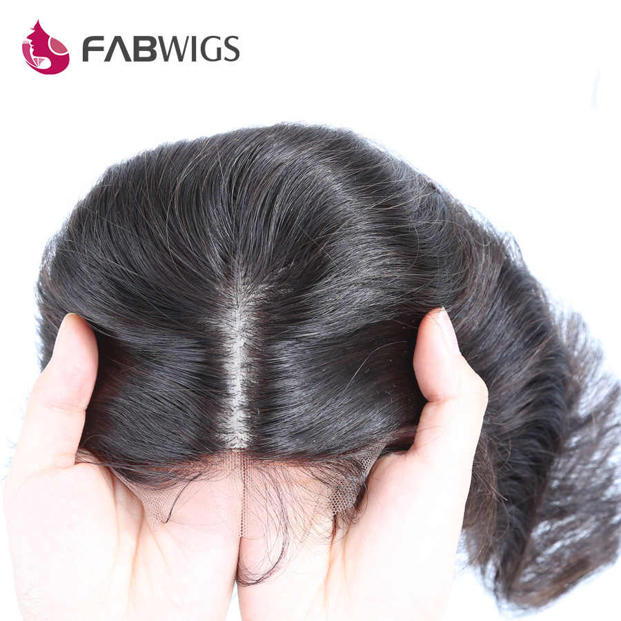 Fabwigs Hair Body Wave Silk Base with Baby Hair 100% Human Remy Hair 4*4 Silk Closure Brazilian Hair Natural Color