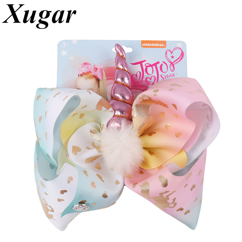 8 Large Party Hair Bows For Girls Handmade Rainbow Bowknot With Pompom Leather Horn Hair Clip Kids Hair Accessories