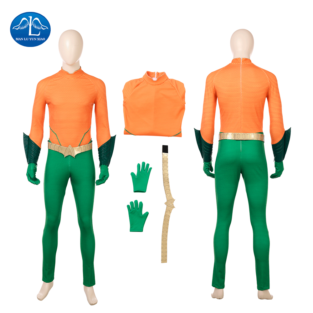 Aquaman Cosplay Costume Men Jumpsuit Arthur Curry Cosplay Halloween Costumes For Men Full Set Custom Made Free Shipping