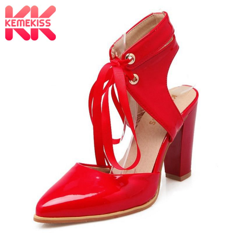 KemeKiss Size 33-43 Women's High Heel Sandals Patent Leather Cross Strap Pointed Toe Shoes Thick Heels Ladies Fashion Footwear