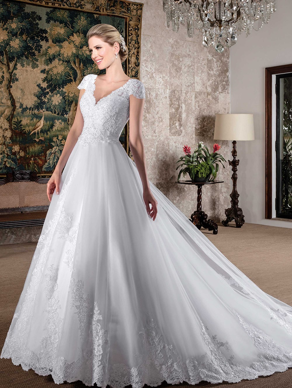 Compare Prices on Lace V Neck Wedding Gowns- Online Shopping/Buy ...