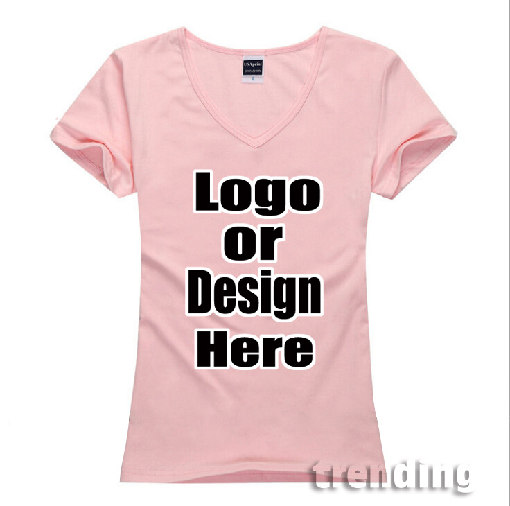 Detail Feedback Questions about Cotton women lady V collar cslim girl  custom Personalized logo DIY customized pattern brand Top Tee Camiseta T  Shirt Tee top ...