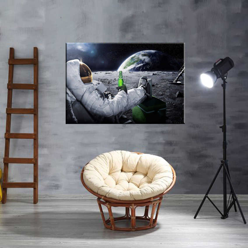 Creatively Astronaut Drink Beer on Moon Canvas Printing Paintings Poster Wall Art Pictures for Living Room Home Decor