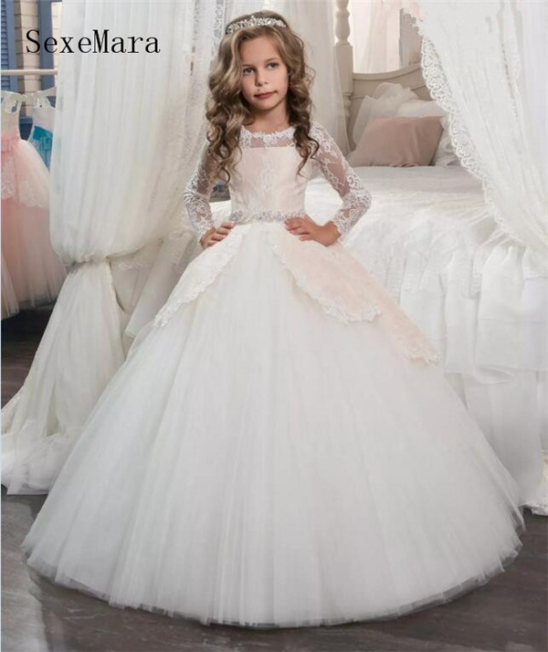 Vintage Long Sleeves Blush White Flower Girls Dresses for Weddings Princess Jewel Neck Bow Sash Long First Communion Dress white slit design round neck long sleeves crop top