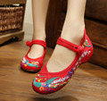 Canvas Sandals Red Black Blue Chinese Style Comfortable Soft Sole Colorful Phoenix Embroidery Cloth Shoes SMYXHX-10010