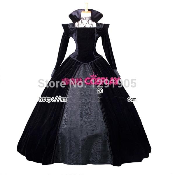 f080de8e1dc55 luxury venice carnival gown black evil queen once upon a time Regina  Medieval Renaissance Gown queen Dress Victorian Belle