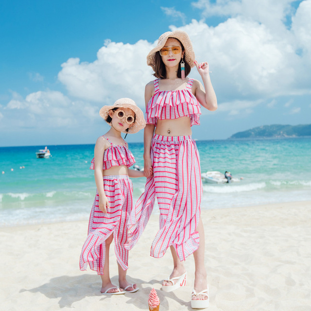 72f77f17d4 2018 mommy and me swimsuits family swimwear beach bikini sets mom and daughter  dress family look clothes mum girls batching suit