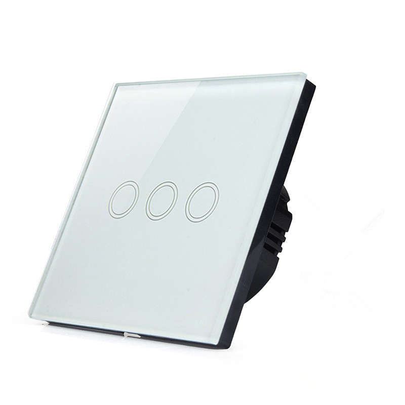 ФОТО EU Standard, Wall Switch White Crystal Glass panel, 3 Gangs Wall Light Touch Screen Switch SKU: 5584