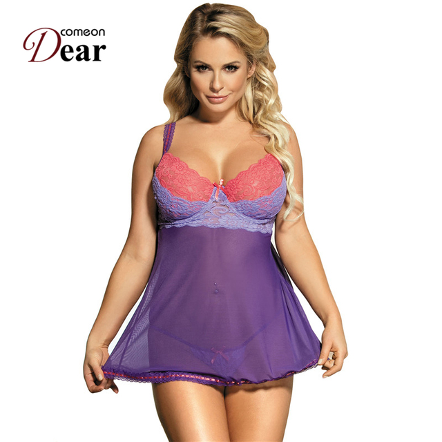 d50c49e35b9 Comeondear Purple Nightdress Sexy Camisola Sexy Lingerie Plus Size Lace Cup  Babydoll Set RB80297 Camisola De Dormir Feminino