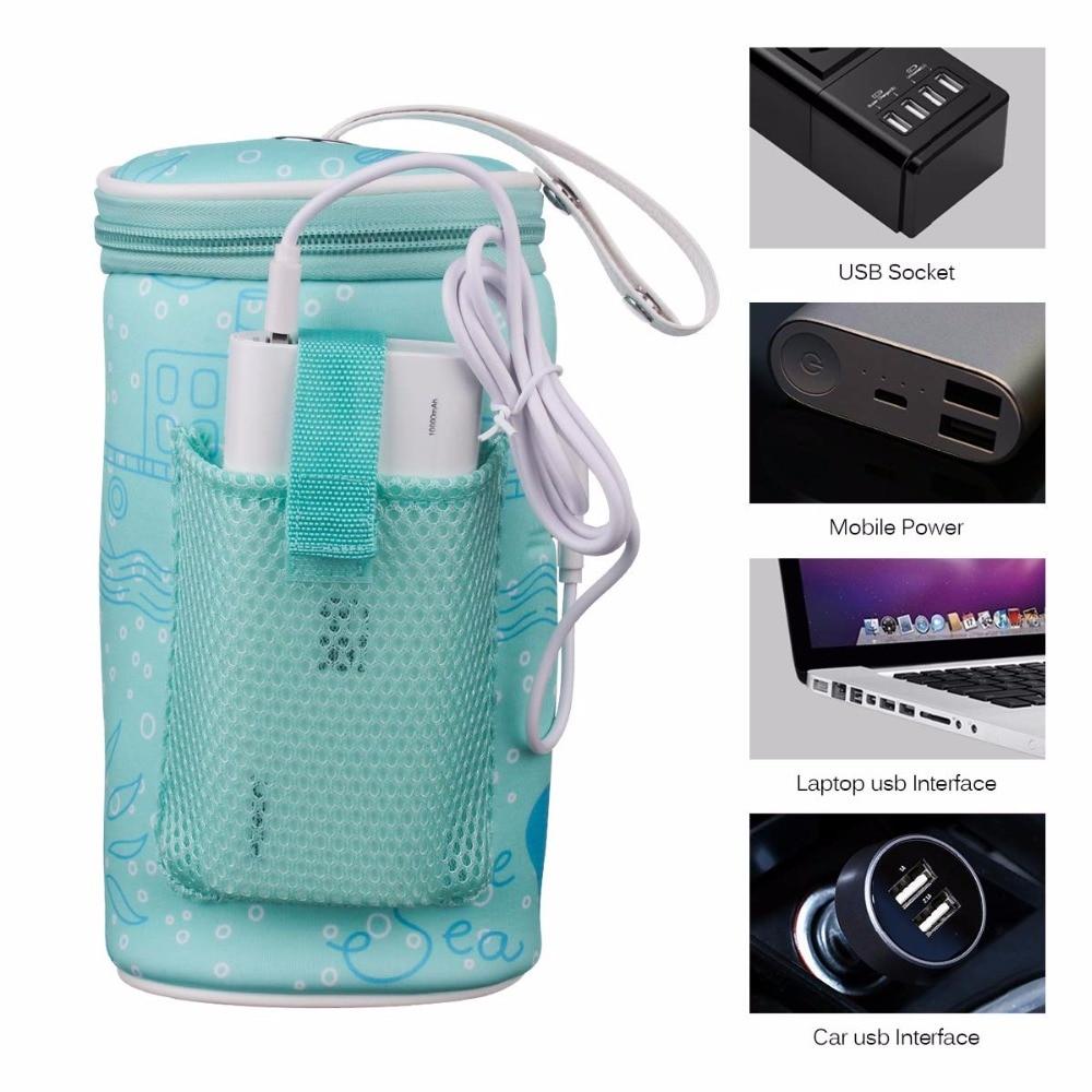 Portable USB Heating Baby Milk Water Bottle Warmer Bag Travel Heater Insulation