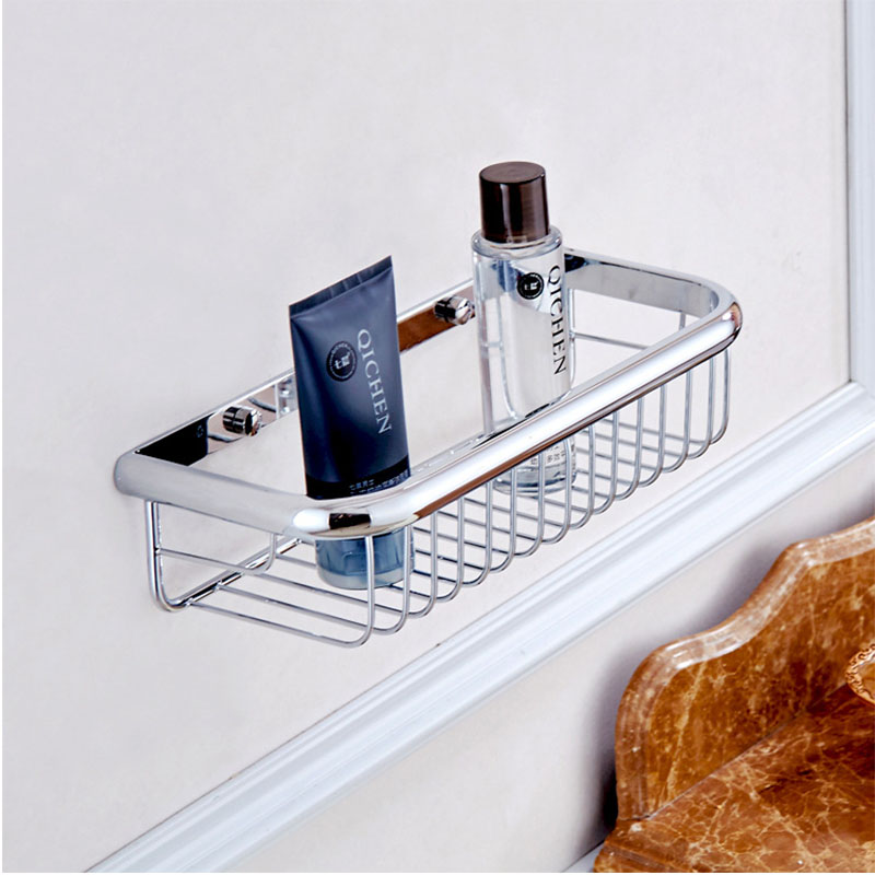 Bathroom Shelf Wall Mount Chrome Bathroom Shower Basket Brass Single Tier Shampoo Holder for Shower Bathroom Accessories