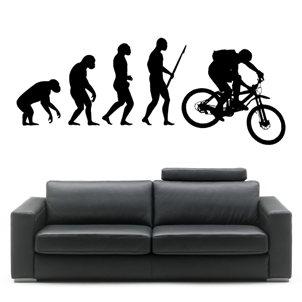 Design a bike sticker - Darwin Evolution Of Man Mountain Bike Art Design Home Decorative Vinyl Wall Mural Creative Wall Sticker