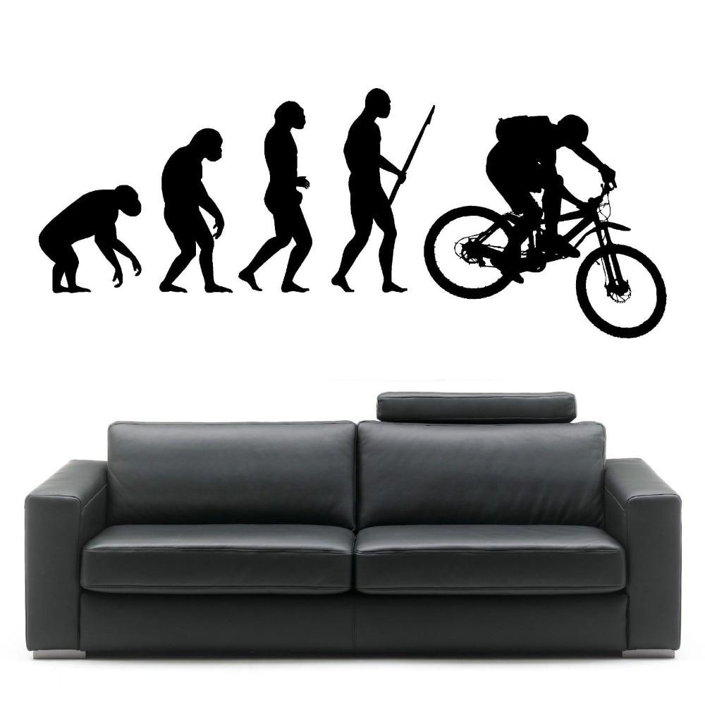 Bike sticker design online - Darwin Evolution Of Man Mountain Bike Art Design Home Decorative Vinyl Wall Mural Creative Wall Sticker