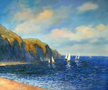 Cliffs and Sailboats at Pourville by Claude Monet Handpainted