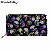 WHOSEPET Women's Purse Skull Print Leather Wallet Ladies PU Long Wallets Clutch Bag Female Coin Purse Fashion Money Bag Male New flower print pu purse bag