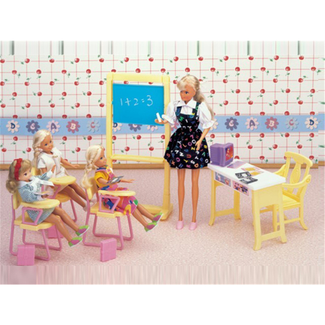 Miniature Classroom Furniture Mini Accessories for Barbie Doll House Classic Toys for Girl Free Shipping