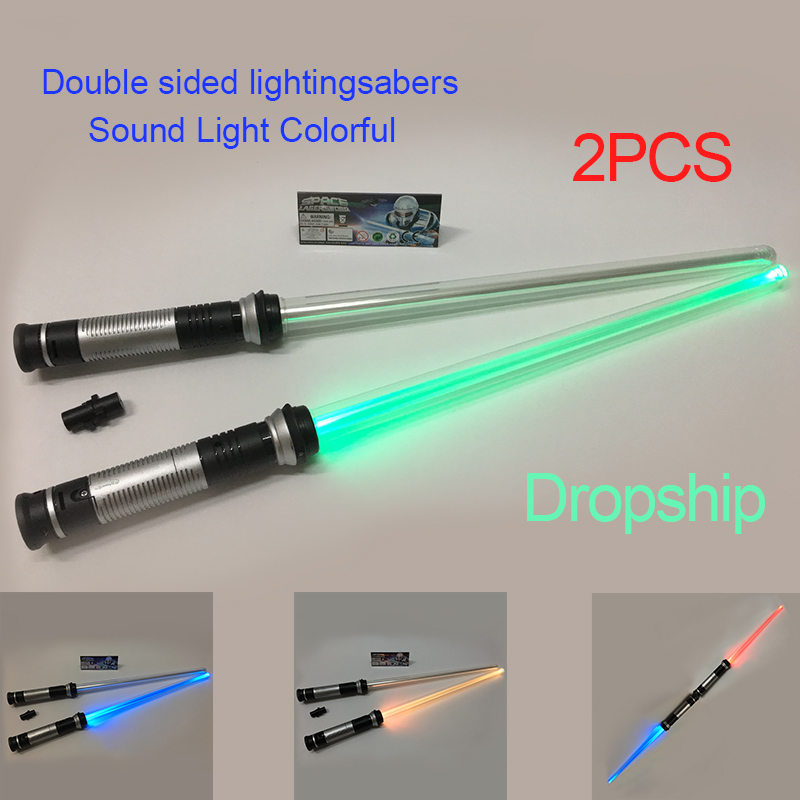 2Pcs Sound Lightsaber Colorful Cosplay Props Kids Double Light Saber Toy Sword for Boys Christmas New Year 2018 Gifts tourist bus sound light and sound passenger train alloy lifelike sound and light double decker bus kids toys