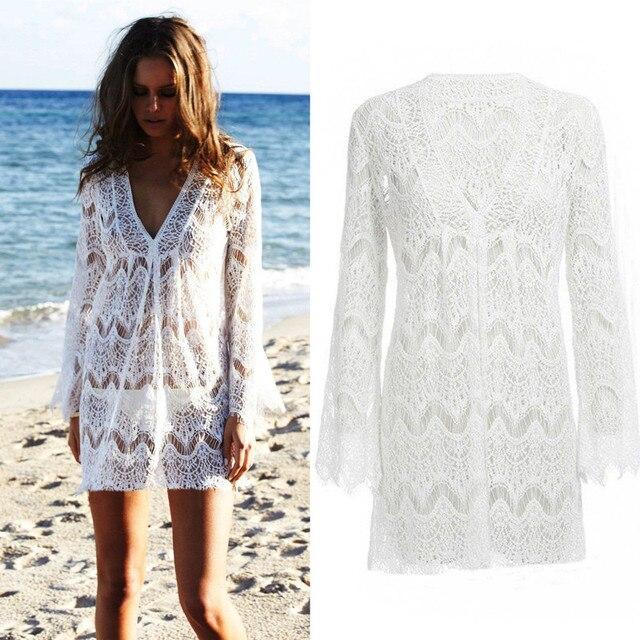 d8ceab5f6ffb6 Модные женские туфли женские с длинным рукавом Кружево крючком летнее  пляжное платье выдалбливают Sexy Тонкий Белый