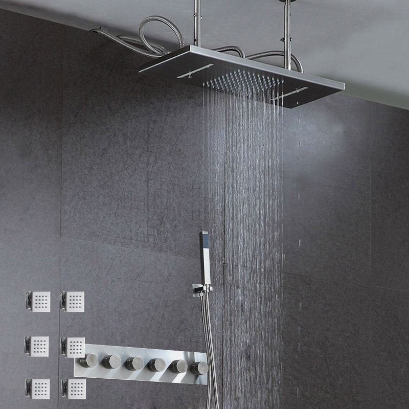 SUS304 Bathroom Rainfall Waterfall Shower Panel Set 30*50cm Hot Cold Massage System Tub Faucet with Body Jets & Rain Hand Shower ouboni new arrival bathroom rainfall shower panel rain massage system faucet with jets hand shower bathroom faucet tap mixer