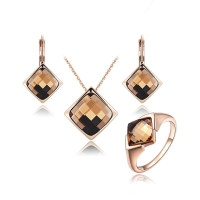 ROMAD Jewelry Set New Crystals Jewelry Set Necklace Earrings Ring Rose Gold Vintage Jewelry For Women