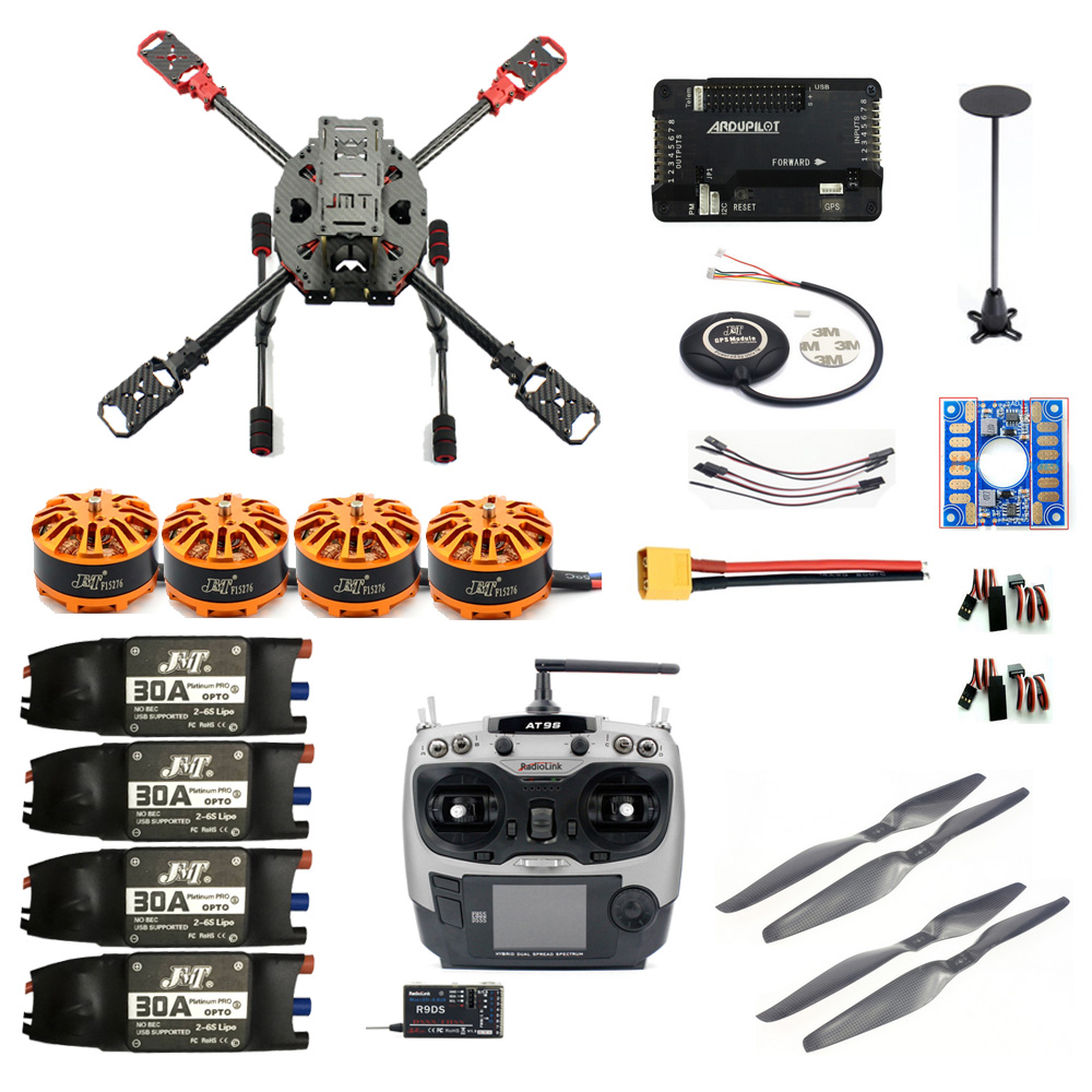 JMT 2.4GHz 4-Aixs RC Aircraft DIY Frame Kit APM2.8 Flight Controll with AT9S RX Brushless Motor ESC Altitude Module Quadcopter 4set lot universal rc quadcopter part kit 1045 propeller 1pair hp 30a brushless esc a2212 1000kv outrunner brushless motor