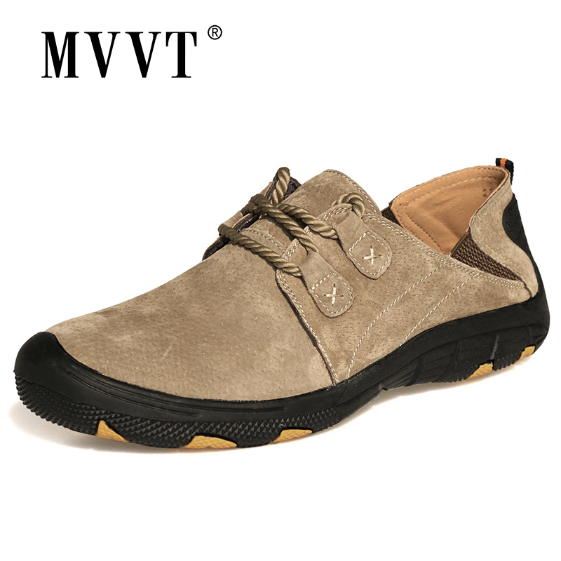 MVVT Comfort Genuine Leather Casual Shoes Men Loafers Suede Men Winter Shoes Breathable Outdoor Training Shoes Walking Zapatos(China)