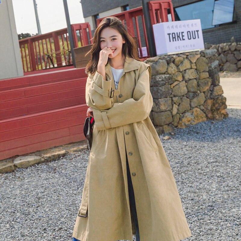 2019 Spring Autumn new Korean   Trench   Coat Women's Long Single-breasted Pocket Belt Windbreaker Khaki Overcoat X878