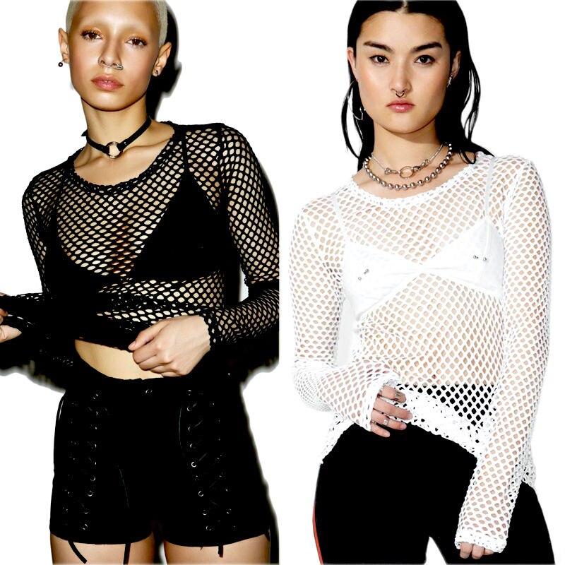 T-shirts, hemden en tops Ivory Off White Fishnet Long Sleeve Mini Dress Top Punk Gothic Mesh See Through Dames: kleding