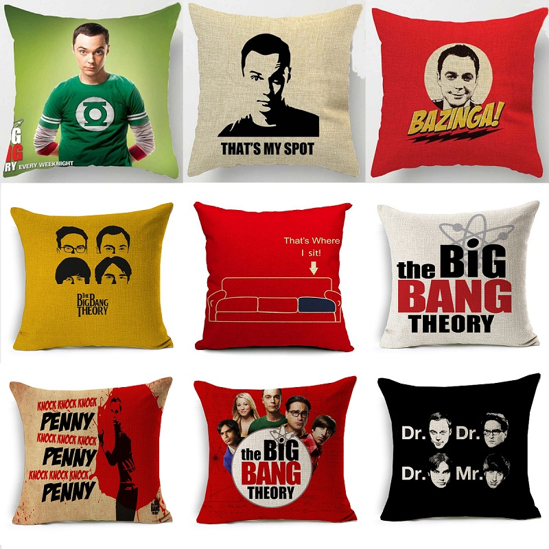 Aliexpress The Bang Theory Beige Cushion Cover 16 Styles Sheldon Spot Pillow 45x45cm Thin Linen Cotton Bedroom Sofa Decoration From